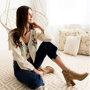 Floral Embroidered Gauze Cardigan